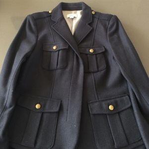 Ann Taylor Loft Navy Military Blazer & Chic Accent